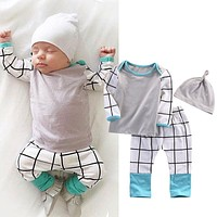 Baby boy clothes fashion cotton long-sleeved t-shirt+pants+caps newborn autumn baby girl clothing infant 3pcs suit