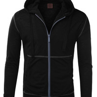 LE3NO Mens Zip Up Hoodie Jacket with Outer Detail Stitching (CLEARANCE)