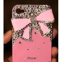Bling Bling iPhone 4G/4S Crystal Diamond Bow Tie Pattern Hard Case/Cover/Protector(Pink Bow with Pink Case)