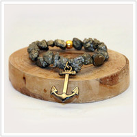Mens / Pyrite / Anchor / Energy Bracelet /Health / Healing Bracelet / Mala Meditation Bracelet / Yoga Bracelet / Power Beads