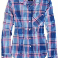 AEO 's Factory Girlfriend Plaid Shirt (Blue)