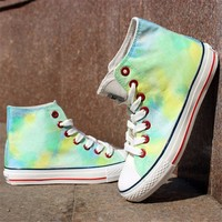 Green Color Tie Dye Hand Painted High Top Canvas Sneakers 052823 S0609