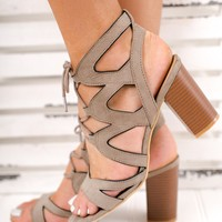 Under The Moon Lace Up Booties (Taupe)