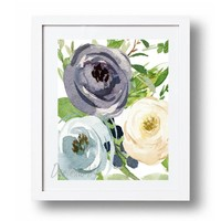 Blue Flower Printable Watercolor flowers Print Navy floral home decor Gold Blue and white wall art Instant Download 5x7 8x10 11x14 16x20