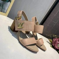 LV Louis Vuitton Sandals Shoes 75mm High Heel Beige Leather Casual Women Slippers