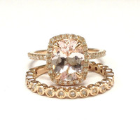 Diamond Wedding Ring Sets!Morganite Engagement Ring 14K Rose Gold,7x9mm Oval Cut Morganite,Claw Prongs,Stackable Eternity Matching Band