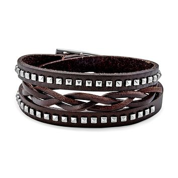 Studded Braided Cuff Multilayer Wrap Brown Leather Bracelet Adjustable