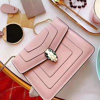 Bvlgari stylish lady single-shoulder crossbody bag with pure gold buckle Pink