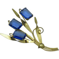 CORO Style STERLING 18K Gold Plated Open Back Glass Flower Pin Brooch