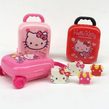 1 box Lovely Hello Kitty Shape Eraser Luggage Case Pencil Erasers Set School Supplies Gifts for Kids Eraser