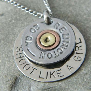 Shoot Like a Girl Bullet Shell Handstamped Necklace | wirenwhimsy - Jewelry on ArtFire