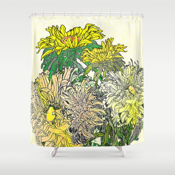 With Flowers Shower Curtain by anipani
