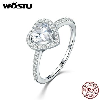 WOSTU 2017 Hot Sale 100% 925 Sterling Silver Dazzling Heart, Clear CZ Finger Rings For Women Luxury Jewelry Gift CQR052