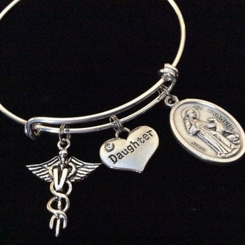 Custom Veterinarian Daughter and Saint Francis Expandable Silver Plated Bangle Bracelet Sturdy Trendy Quality Animal Doctor Gift Paw Print Handmade