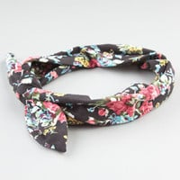Full Tilt Floral Print Bow Knot Headband Black Combo One Size For Women 24428514901