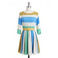 Seashore Striped Dress   Vintage Inspired Dress, Romantic Clothing   Lily and Violet   Lily and Violet