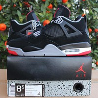 """Ready Stock"" aj4 Air Jordan 4 bred Men Women Sneaker"