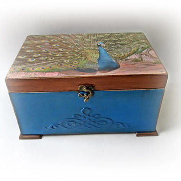 Peacock Wedding Box Vintage Peacock Card Box Peacock Momey Box Peacock Chest Personalized Peacock Card Holder Antique Chest Gift for Couple
