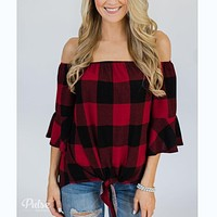fhotwinter19 new large size plaid short-sleeved pullover sexy T-shirt women