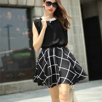 Sleveless Plaid Blouson Mini Skater Dress