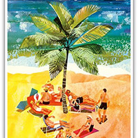 Florida - Eastern Air Lines - Sunbathers around Palm Tree - Vintage Airline Travel Poster by Jane Oliver c.1960s - Master Art Print - 13in x 19in