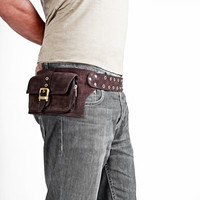 1 pocket mens's leather belt pouch in brown  by Shovavaleather