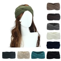 New Solid Crochet Knitting Woolen Headbands Winter Women Bohemia Weaving Cross Headbands Handmade Hairbands Bandeau Cheveux 2018