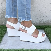 My Girl Platform Open Toe Wedges In White