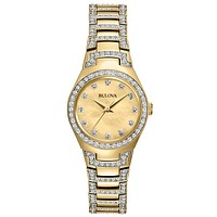 Bulova Ladies Gold-Tone Crsytal Dress Watch - Mother of Pearl Dial - Bracelet