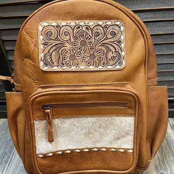 Tooled Leather Cowhide Backpack Purse