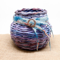 Purple Handwoven Basket/Vase with Felted Wool and Etched Copper Design - Woven from Recycled Newspaper - Home Decor
