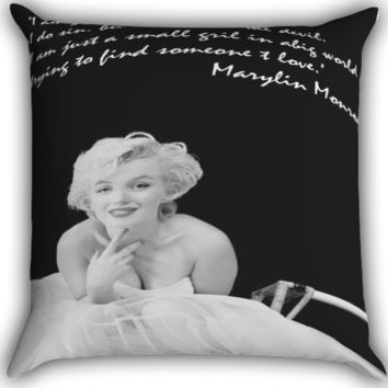 marylin monroe Zippered Pillows  Covers 16x16, 18x18, 20x20 Inches