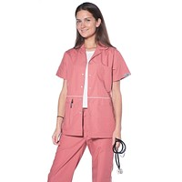 Women's Designer Pearl Button Up Uniform Scrubs