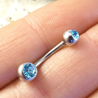 Simple Aqua Cyrstal Belly Button Ring Jewelry