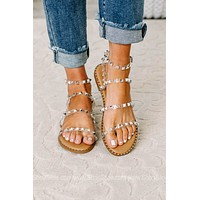 Let's Stay Forever Clear Studded Sandals