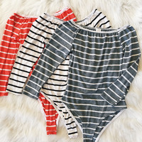 Summer Off The Shoulder Striped Bodysuit (Gray, Red, White)