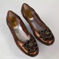 Ros Hommerson Leather Ballet Flats Bronzed Gold Size 9WW