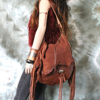 Rusted brown tribal chestnut brown leather fringed hobo bag fringe artistan purse bohemian african jungle raw leather festival free people
