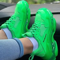 BALENCIAGA Triple S High Quality Women Men Leisure Contrast Color Crystal Soles Shoes Sport Sneakers Green