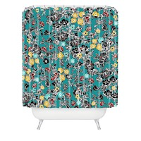 Sharon Turner Cloisonne Flowers Shower Curtain