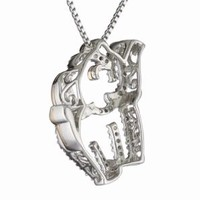 Sterling Silver, 14k Rose Gold, and Diamond Elephant Pendant Necklace