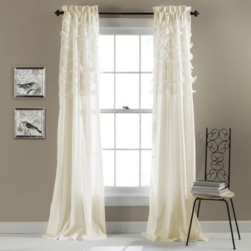 The Coco Tier Ruffle Window Curtain Panel SET