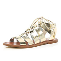 River Island Womens Gold metallic lace up gladiator sandals