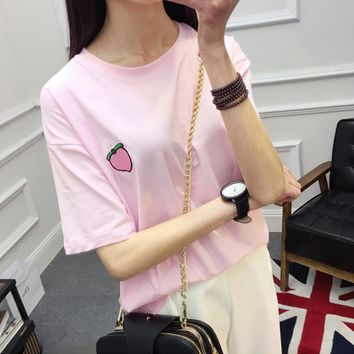 2017 Summer T Shirt Women Tops Peach Pineapple Banana Cherry Fruit Candy Color Embroidered Short-sleeved T-shirt Loose T Shirts