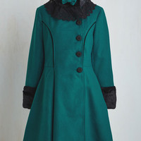 Vintage Inspired Long Fit & Flare Book Tour Bliss Coat in Teal