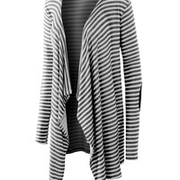 LE3NO Womens Flowy Striped Draped Cardigan with Suede Elbow Patches (CLEARANCE)