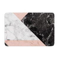 "KESS Original ""Geo Marble and Coral"" Black Art Deco Memory Foam Bath Mat"