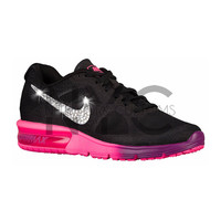 Nike Air Max Sequent Black Pink Grape Blinged Out Swarovski Crystal