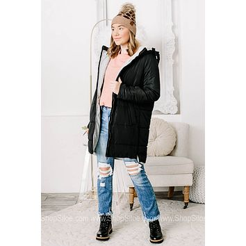 Make A Name For Yourself Black Puffer Coat