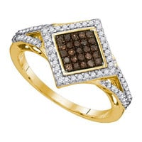 Cognac Diamond Fashion Ring in 10k Gold 0.33 ctw